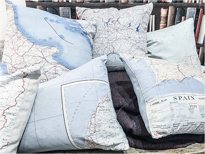 Vintage Maps from the Home Front as great cushions and gifts
