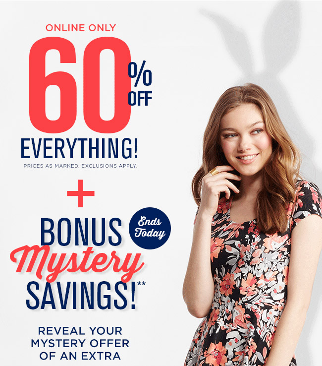 60% off Everything! + Surprise Mystery Savings Ends Today!