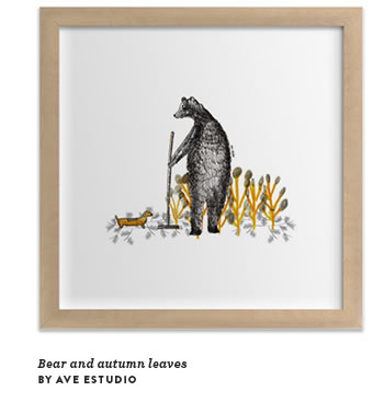 Bear and autumn leaves