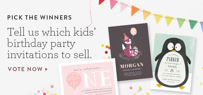 Tell us which kids' birthday party invites to sell.
