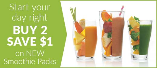 Start your day right. Buy 2 save $1 on NEW Smoothie Packs!