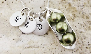 Peas in a Pod Necklace with Optional Initial Pendants