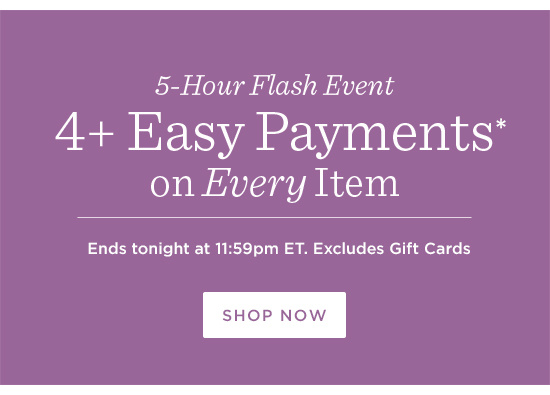 4+ Easy Payments*  on Every Item