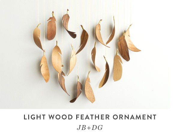 Light Wood Feather Ornament