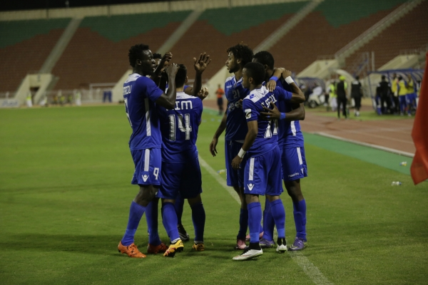 Al Nasr players celebrate during their Mazda Professional Cup final against Sohar at the Sultan Qaboos Sports Complex on Sunday. Photo - JUN ESTRADA/Times of Oman