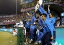 The India dugout erupts with joy after reaching the semi-final, Australia v India, World T20 2016, Group 2, Mohali, March 27, 2016