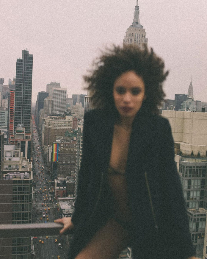 Image from a fashion shoot with Bianca Gittens above the roofs of New York City.