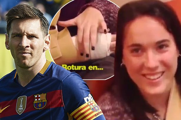 Real Madrid fan claims Barcelona star Lionel Messi broke her wrist with wayward shot