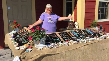 Handmade jewelry for sale in Wood Islands, P.E.I., at the 70-Mile Coastal Yard Sale