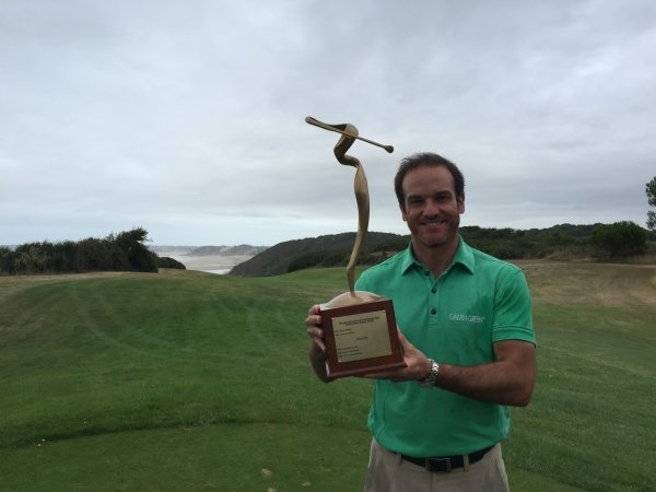 Spain's Alvaro Velasco poses with the trophy after winning Cordon Golf Open. Photo - Supplied