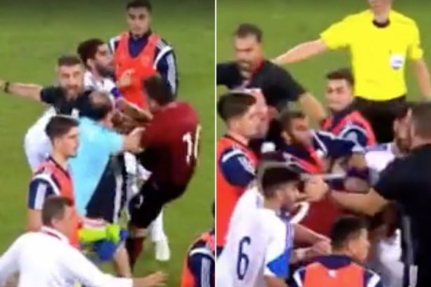 Mass brawl after Turkey vs Cyprus Under-21 match sees SIX players sent off