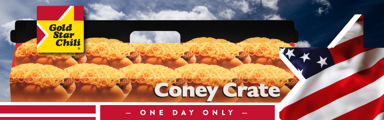 ONE DAY ONLY $2 OFF CONEY CRATE