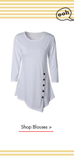 Stylish Pure Color Button Asymmetric Blouse