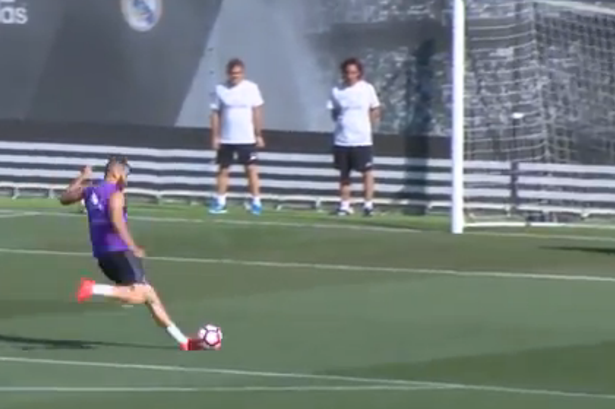 Watch Real Madrid's Karim Benzema show off pinpoint accuracy in training with selection of goals