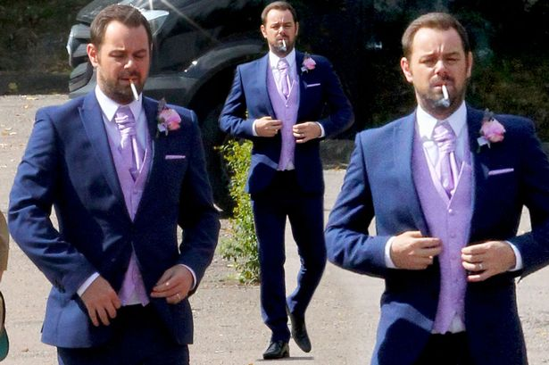 Danny Dyer in wedding suit as he joins EastEnders co-stars fore ceremony shoot