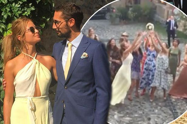 Millie Mackintosh fights for bride's bouquet in hilarious wedding video