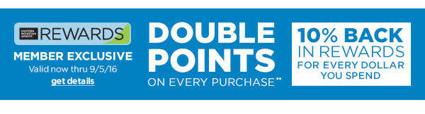 DOUBLE POINTS ON EVERY PURCHASE, MEMBER EXCLUSIVE VALID NOW THRU 9/5/16, CLICK FOR MORE DETAILS, 10% BACK IN REWARDS FOR EVERY DOLLAR YOU SPEND!