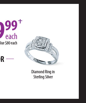 $19.99 Each Retail value $80 each, Diamond Ring in Sterling Silver