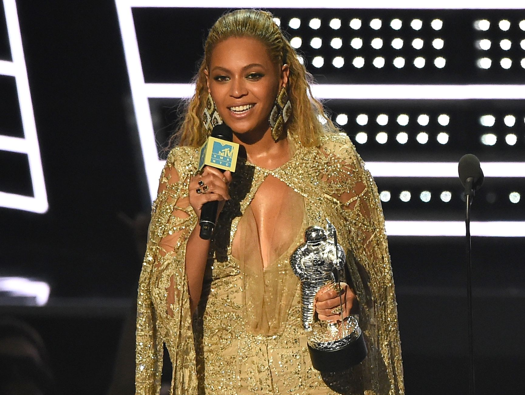 Beyonce accepts the award for best female video for 'Hold Up' at the MTV Video Music Awards.