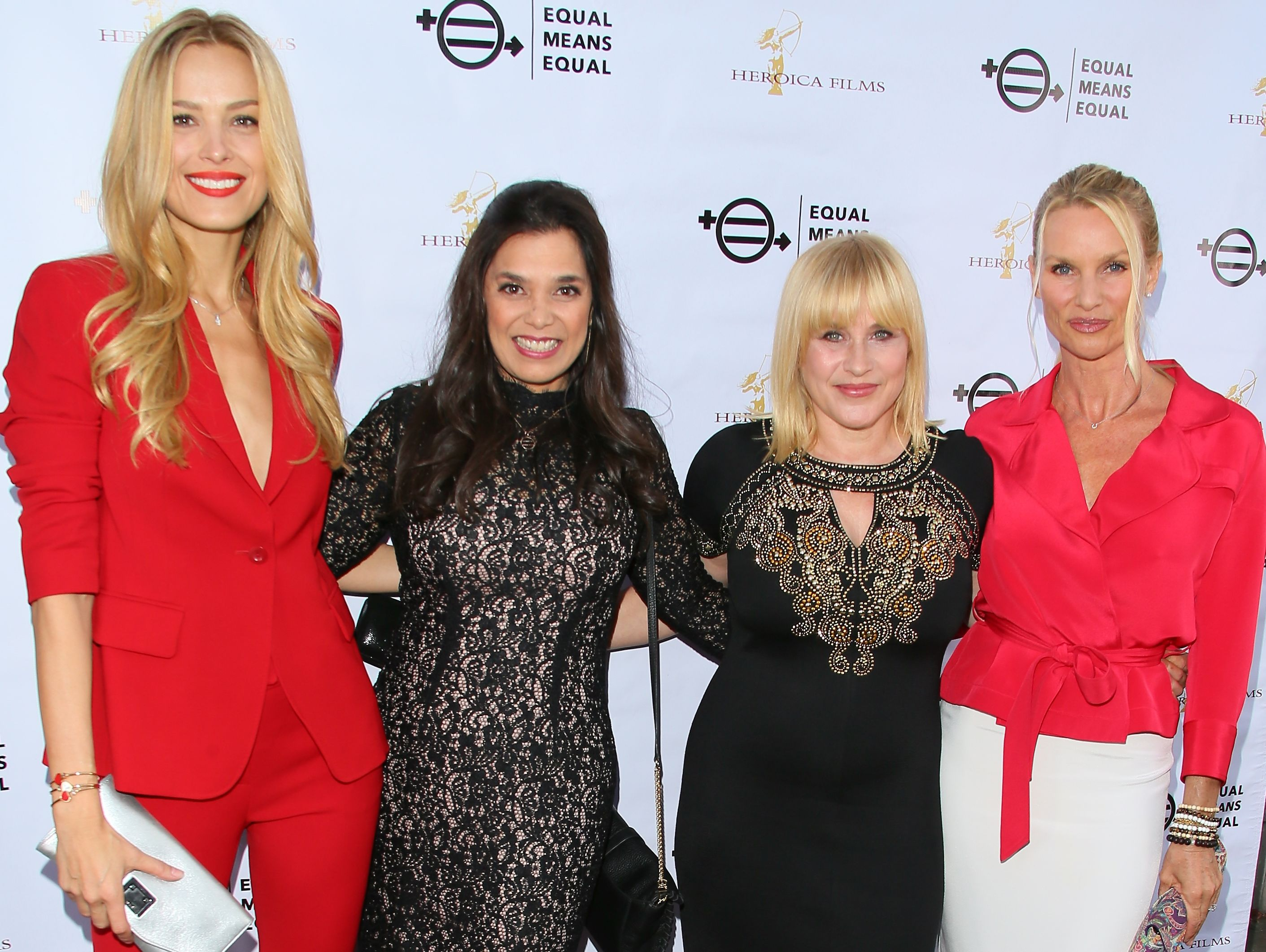 Petra Nemcova, left, filmmaker Kamala Lopez, Patricia Arquette and Nicollette Sheridan attend an 'Equal Means Equal' screening in Beverly Hills.