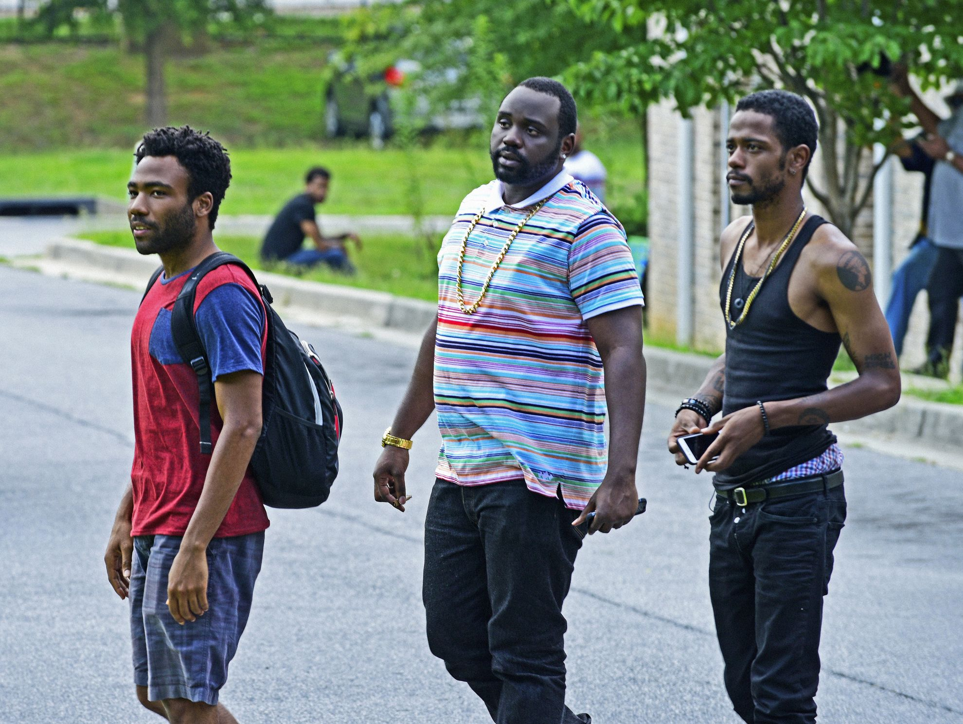 Donald Glover as Earnest 'Earn' Marks, from left, Brian Tyree Henry as Alfred Miles and Keith Standfield as Darius in 'Atlanta.'