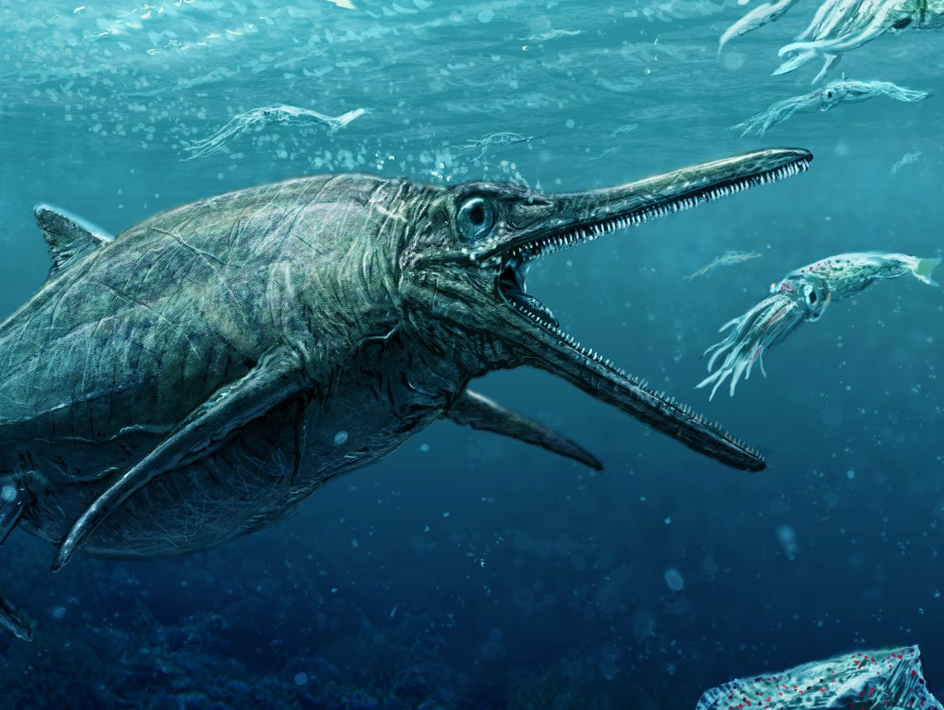 An artist's rendering of what the Storr Lochs monster looked like in the Jurassic period