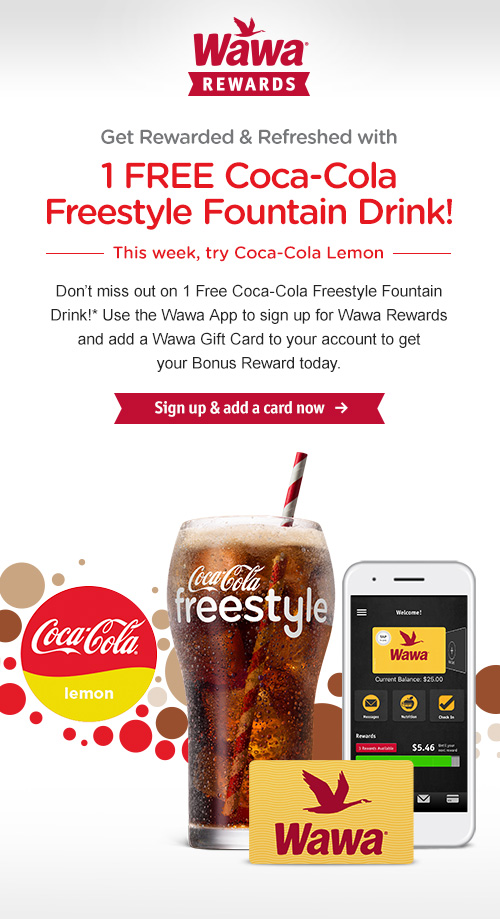 1 FREE Coca-Cola Freestyle Fountain Drink! Add a card & Get my Bonus Reward