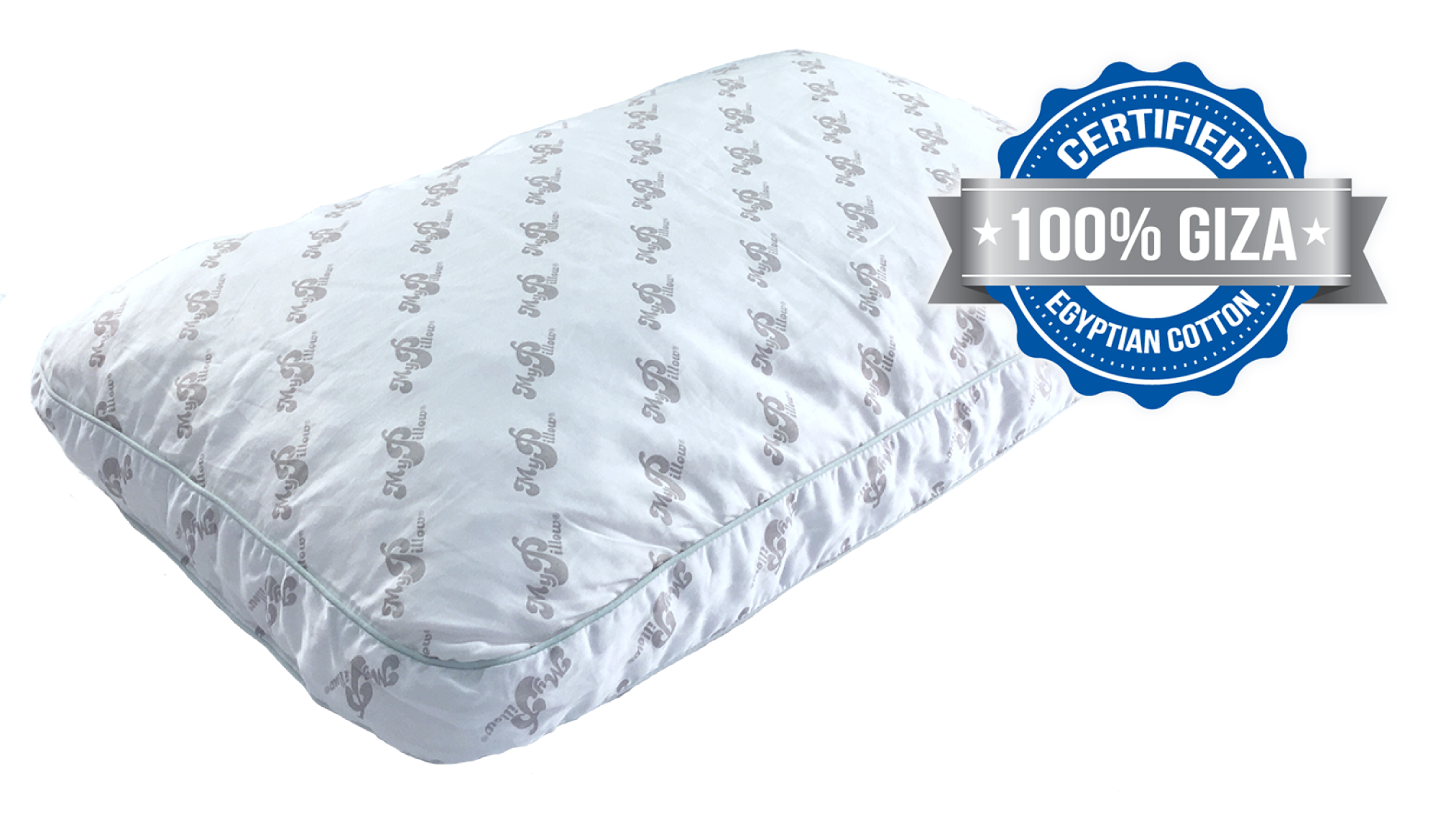 "MyPillow Giza Elegance Premium pillows are made with 100% certified ""extra-long staple"" Egyptian cotton and finished with a sateen weave."