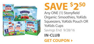 Save $3.00 on any ONE (1) Stonyfield Organic Fruit Snacks