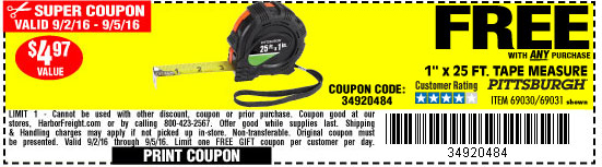 Free tape measure with any purchase
