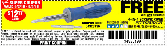 Free screwdriver with any purchase