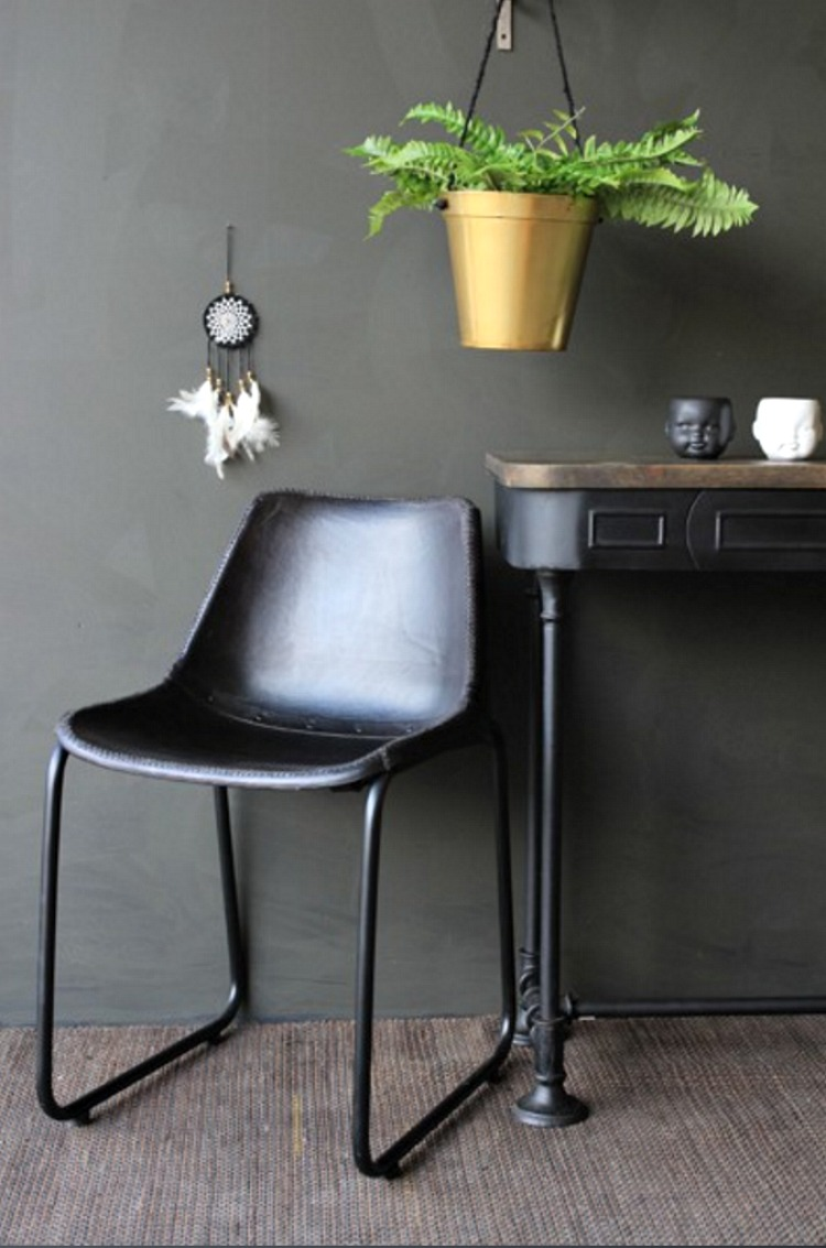 black industrial leather chair