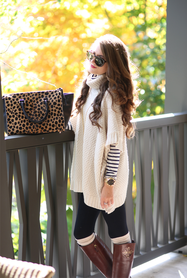 Fall fashion - cowl neck sweater + striped turtleneck