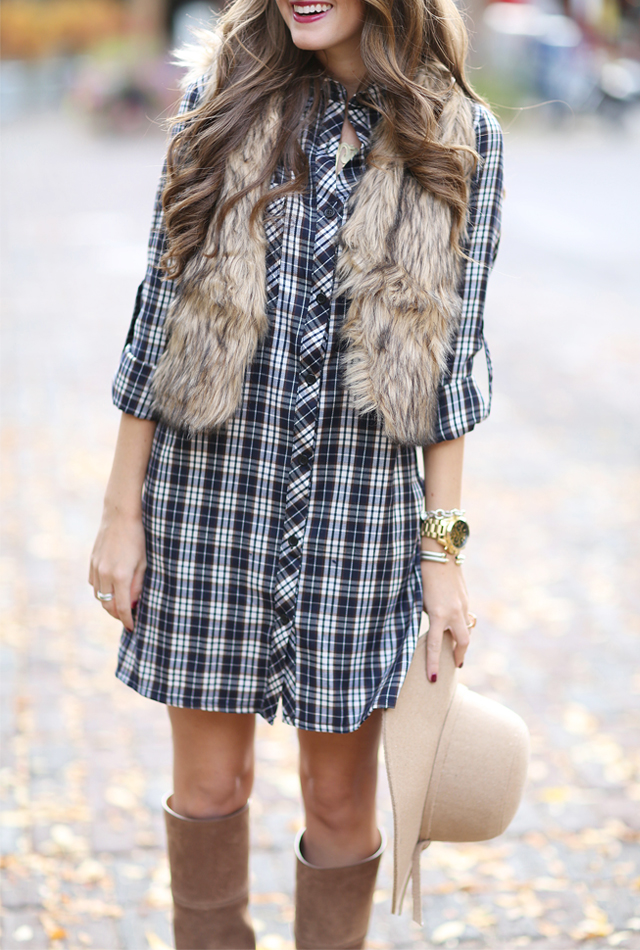 Plaid shirtdress + faux fur vest