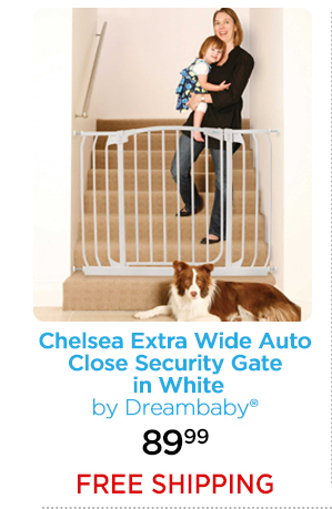 Chelsea Extra Wide Auto Close Security Gate in White by Dreambaby® 89.99 FREE SHIPPING