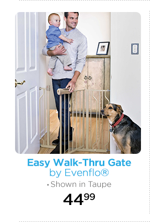 Easy Walk-Thru Gate by Evenflo® Shown in Taupe 44.99