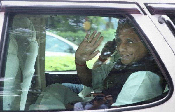 Union Home Minister Rajnath Singh returning from 7 Race course, after a meeting with Prime Minister Narendra Modi, in New Delhi on Tuesday. Photo - PTI